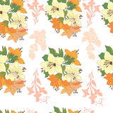 Seamless pattern with beautiful flowers. Decorative floral background.Bouquet with rose and lilies vector illustration