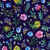Seamless pattern with Beautiful flowers and leaves. Royalty Free Stock Photography