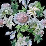 Seamless pattern with beautiful flowers. Lilia. Calla. Hydrangea. Stock Image