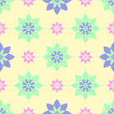 Seamless pattern of beautiful flowers, turquoise and pink flowers Royalty Free Stock Image