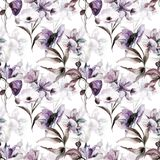 Seamless pattern with Beautiful flowers. Watercolor painting Royalty Free Stock Photography