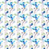 Seamless pattern with Beautiful flowers. Watercolor painting Royalty Free Stock Images