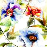 Seamless pattern with Beautiful flowers Stock Photography