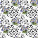 Seamless pattern with Beautiful flowers, Watercolor painting Stock Photo