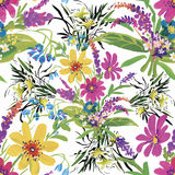 Seamless pattern with Beautiful flowers, Watercolor painting Stock Images