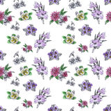 Seamless pattern with Beautiful flowers, Watercolor painting Royalty Free Stock Photo