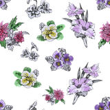 Seamless pattern with Beautiful flowers, Watercolor painting Stock Photos