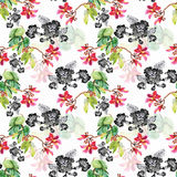 Seamless pattern with Beautiful flowers, Watercolor painting Royalty Free Stock Images