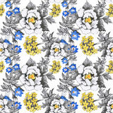 Seamless pattern with Beautiful flowers, Watercolor painting Royalty Free Stock Photography