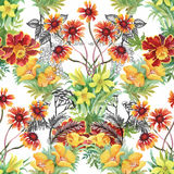 Seamless pattern with Beautiful flowers, Watercolor painting Stock Image