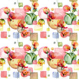Seamless pattern with Beautiful flowers Royalty Free Stock Photo