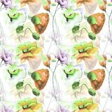 Seamless pattern with Beautiful flowers. Watercolor painting Stock Images