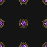 Seamless pattern with beautiful golden ornaments and purple gems on black background Stock Photos