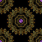 Seamless pattern with beautiful golden ornaments and purple gems on black background. Vector floral mandalas Stock Photo