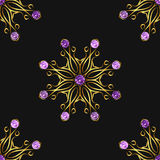 Seamless pattern with beautiful golden ornaments and purple gems on black background. Vector floral mandalas.  Royalty Free Stock Images