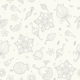 Seamless pattern with beautiful gray flowers Stock Photography