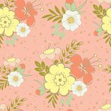 Seamless pattern with beautiful hand drawn floral background Royalty Free Stock Photography