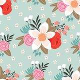 Seamless pattern with beautiful hand drawn floral background Royalty Free Stock Images