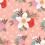 Seamless pattern with beautiful hand drawn floral background Royalty Free Stock Photos