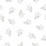 Seamless pattern with beautiful hand drawn roses. Royalty Free Stock Photo