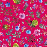 Seamless pattern with beautiful hand paint  flowers and leaves. Royalty Free Stock Image