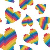 A seamless pattern of beautiful hearts painted Stock Photography