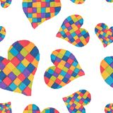 A seamless pattern of beautiful hearts painted in watercolor mar Stock Photography