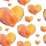 A seamless pattern of beautiful hearts painted in watercolor on Royalty Free Stock Photography