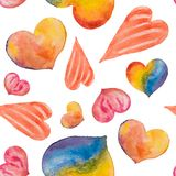 A seamless pattern of beautiful hearts painted in watercolor on Stock Photography