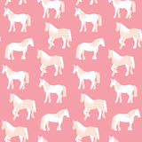 Seamless pattern of beautiful horses in pastel colors Royalty Free Stock Photo