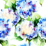 Seamless pattern with Beautiful Hydrangea blue flowers. Watercolor illustration Stock Photography