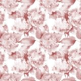 Seamless pattern with Beautiful Hydrangea flowers Royalty Free Stock Photography