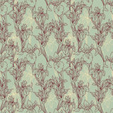 Seamless pattern with beautiful irises flowers,art deco style Stock Images