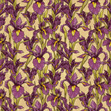 Seamless pattern with beautiful irises flowers,art deco style Stock Photography