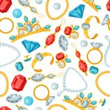 Seamless pattern with beautiful jewelry Royalty Free Stock Images