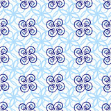 Seamless pattern of beautiful light blue curly lines Royalty Free Stock Photo