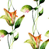 Seamless pattern with Beautiful Lily flowers Royalty Free Stock Images