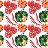 Seamless pattern of beautiful lovely graphic artistic abstract bright cute halloween orange, green pumpkins, red hot chili pepper. And tomato branch located at Royalty Free Stock Photos