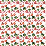 Seamless pattern of beautiful lovely graphic artistic abstract bright cute halloween orange, green pumpkins, red hot chili pepper. And tomato branch located at royalty free illustration