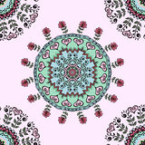 Seamless pattern with beautiful Mandalas. Vector ornament, colorful round decorative elements for your design Stock Photography