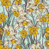 Seamless pattern with beautiful narcissus flowers in mosaic style Royalty Free Stock Photo