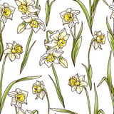Seamless pattern with beautiful narcissus flowers in mosaic style Stock Photos