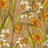 Seamless pattern with beautiful narcissus flowers in mosaic style Stock Images
