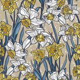 Seamless pattern with beautiful narcissus flowers in mosaic style Royalty Free Stock Image