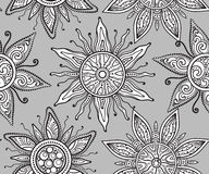 Seamless  pattern with beautiful ornate suns Royalty Free Stock Photography