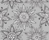 Seamless  pattern with beautiful ornate suns Royalty Free Stock Photography