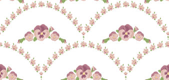 Seamless pattern beautiful pansies flowers, white background, pink floral ornament Stock Image