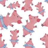 Seamless pattern with beautiful pig ballerina in blue skirt tutu. Seamless pattern with beautiful pink pig ballerina in blue skirt tutu painted with watercolor Royalty Free Stock Photo