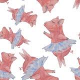 Seamless pattern with beautiful pig ballerina in blue skirt tutu. Seamless pattern with beautiful pink pig ballerina in blue skirt tutu painted with watercolor Stock Photos