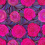 Seamless pattern with beautiful pink roses vector illustration